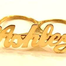 two finger name ring best 14k gold name ring products on wanelo