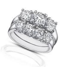three stone engagement rings ct three stone round diamond engagement ring with wedding band