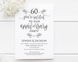 60th anniversary invitations anniversary invites etsy