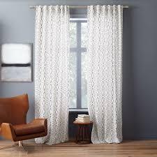 west elm cotton canvas diamond stripe curtain stone white slate