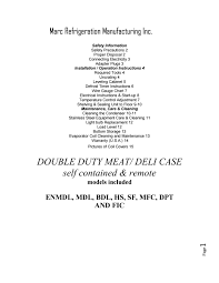 manual for using all meat and deli cases by marc refrigeration by