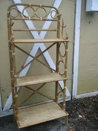 vintage 3 tier bent bamboo cane rattan bakers rack garden