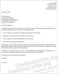 Industrial Maintenance Resume Examples by Equipment Mechanic Cover Letter Sample