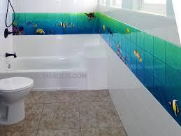 bathroom tile mural room design ideas
