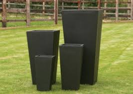 black modern planters square square tapered tall