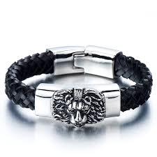 men braided leather bracelet images Braided leather bracelet for men with stainless steel jpg