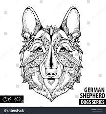 zentangle stylized cartoon german shepherd hand stock vector