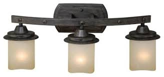 Rustic Bathroom Vanity Light Fixtures - vaxcel lighting w0147 halifax 3 light vanity light rustic