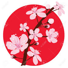 Meaning Of Japanese Flag Cherry Branch Over Japanese Flag Royalty Free Cliparts Vectors