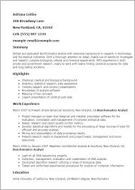 Sample Resume For Research Analyst by Professional Bioinformatics Analyst Templates To Showcase Your