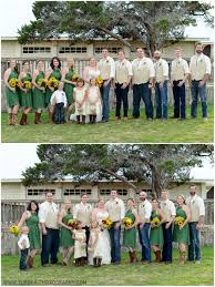 country wedding at twisted ranch bridesmaids wear short green