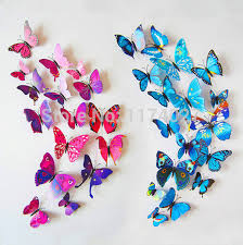 line Shop High Quality 12pcs PVC 3d Butterfly wall decor cute