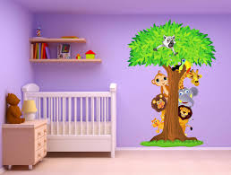 chambre jungle bébé stickers arbre animaux jungle inspirations avec stickers arbre