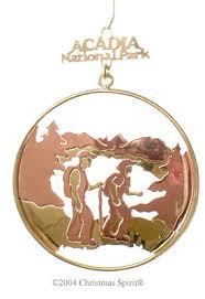 brass hiking acadia national park ornaments