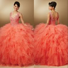 orange quinceanera dresses new fashioned gowns v neck party gowns tulle lace beaded