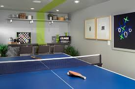 Floating Floor In Basement - floating beer pong table in basement contemporary with video game