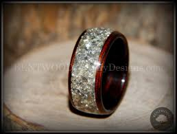 glass wedding rings bentwood kingwood wooden wedding ring silver glass inlay