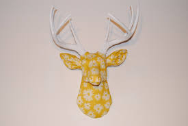 deer home decor yellow and white flower fabric deer head wall mount