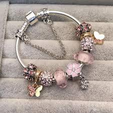 pandora style bead necklace images 2018 pandora style bracelet pink beads charm bracelets for women jpg