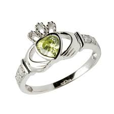clatter ring august birthstone claddagh ring a heart shaped lush green peridot