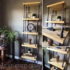 5 level shelf bookshelf freestanding solid wood u0026 iron
