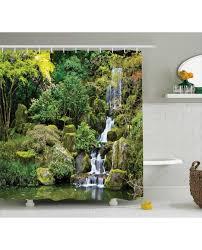 shower curtain trees foliage rock garden print for bathroom