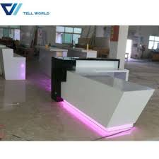 L Shaped Reception Desk Counter China Commercial Counter Furniture White And Grey L Shaped
