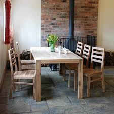 Dining Room  Rustic Kitchen With Stone Floor Tiles And Exposed - Rustic wood kitchen tables
