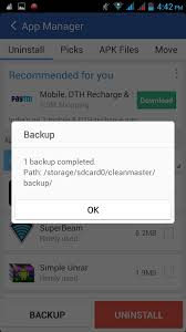 where are apk files stored it how to take backup of android apk files using clean master app