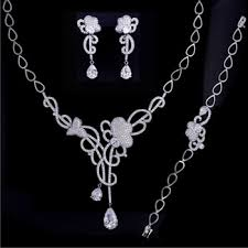 ebay necklace silver images Ebay usa cz jewelry set for wedding rhinestone bridal jewelry set jpg