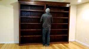 Bookcase With Door by Sliding Bookcase Hidden Door Youtube