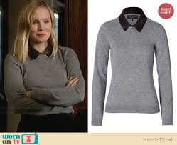wornontv jeannie u0027s grey sweater with leather collar on house of