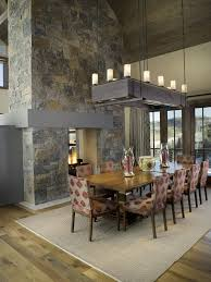 chandelier for sloped ceiling dining room contemporary with two