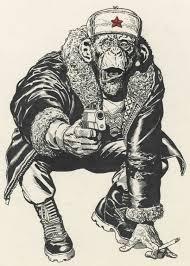 grey ink russian chimpanzee with gun tattoo design tattooimages biz