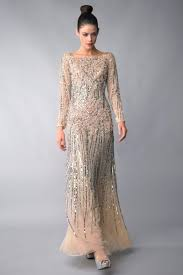 instyle new york d6045l gold long sleeve evening gown by basix