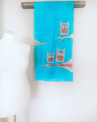 Christmas Presents For Her Turquoise Owl Silk Scarf Christmas Gift Handpinted Bird Design