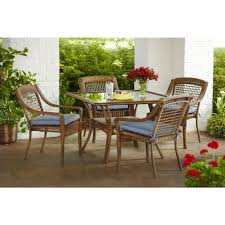 Patio Furniture Cushions Home Depot - hampton bay spring haven brown 5 piece all weather wicker patio