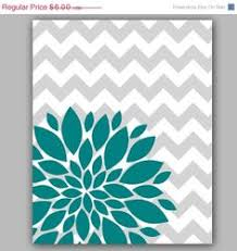 Teal Room Decor Home Decor Wall Art Instant Download Aqua And Brown Flower