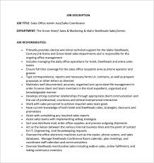 Logistic Coordinator Resume Sample by Sales Coordinator Job Description Hotel Sales U0026 Marketing