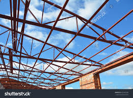steel roof trusses roofing construction metal stock photo
