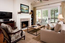 brick fireplace living room transitional with window treatments
