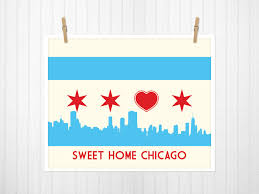 Chicago Neighborhood Map Poster by Chicago Chicago Flag Chicago Flag With Skyline U0026 Heart