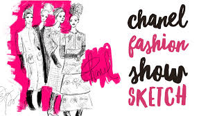 how to draw a chanel runway models fashion illustration with