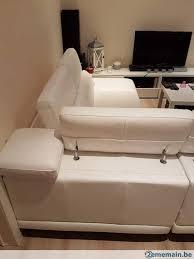 gros canapé canapé d angles en cuir blanc gros grain comme neuf a vendre