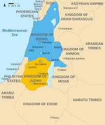 Isreal Map Map Showing The Kingdoms Of Israel Blue And Judah Orange