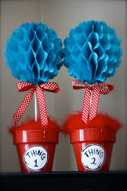 Thing One And Thing Two Party Decorations Thing 1 And Thing 2 Topiaries Simple To Make Fun To Display
