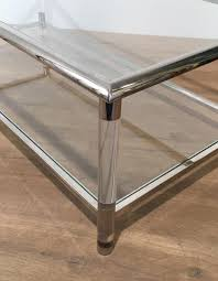 Plexiglass Coffee Table Vintage Chrome And Plexiglass Coffee Table For Sale At Pamono