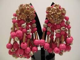1960 s earrings 1960 s pink cluster tassel earrings