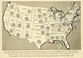 United States Map Art by 1920 Print United States Map Union Water Power White Coal States