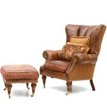 Overstuffed Armchair Zimmerman Furniture Brown Leather Over Stuffed Chair And Ottoman